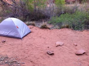 Our Camp Site at Coyote Gulch - Jacob Hambleins Arch